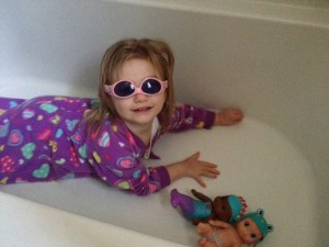 swimming in the tub